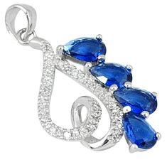 Blue sapphire quartz white topaz 925 sterling silver pendant jewelry c22775