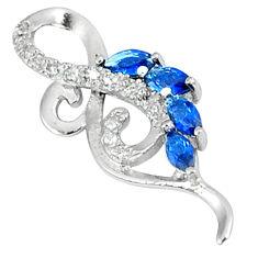 Blue sapphire quartz white topaz 925 sterling silver pendant jewelry c22820