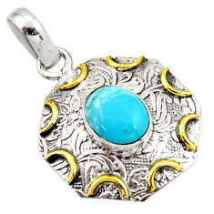 4.13cts blue sleeping beauty turquoise 925 silver 14k gold pendant r37106