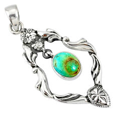 4.29cts blue sleeping beauty turquoise 925 sterling silver pendant r77831