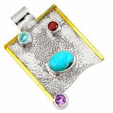 5.42cts blue sleeping beauty turquoise amethyst garnet 925 silver pendant d39126