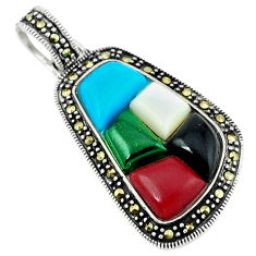 Blue sleeping beauty turquoise chalcedony 925 sterling silver pendant c18938