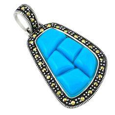 Blue sleeping beauty turquoise marcasite 925 silver pendant c17203