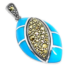 6.02cts blue sleeping beauty turquoise marcasite 925 silver pendant c20859