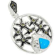 Blue sleeping beauty turquoise marcasite 925 silver pendant jewelry c21964