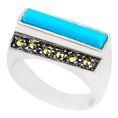 Blue sleeping beauty turquoise marcasite 925 silver ring size 7.5 c17261