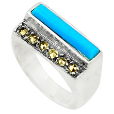 Blue sleeping beauty turquoise marcasite 925 silver ring size 8.5 c17270