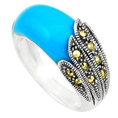 Blue sleeping beauty turquoise marcasite 925 silver ring size 6 c17272