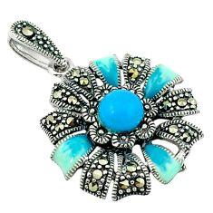 Blue sleeping beauty turquoise marcasite enamel 925 silver pendant c20852