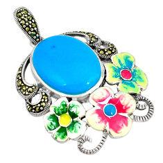 Blue sleeping beauty turquoise marcasite enamel 925 silver pendant c26117
