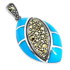 8.22cts blue sleeping beauty turquoise marcasite 925 silver pendant c16746