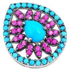 Blue sleeping beauty turquoise red ruby quartz 925 silver pendant c23471