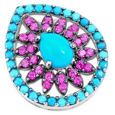 Blue sleeping beauty turquoise red ruby quartz 925 silver pendant c23476