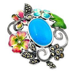 Blue sleeping beauty turquoise swiss marcasite 925 silver pendant c16461