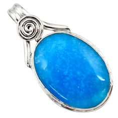 17.18cts blue smithsonite 925 sterling silver pendant jewelry r27776