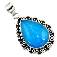 18.47cts blue smithsonite 925 sterling silver pendant jewelry r27908