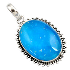 19.23cts blue smithsonite 925 sterling silver pendant jewelry r27918