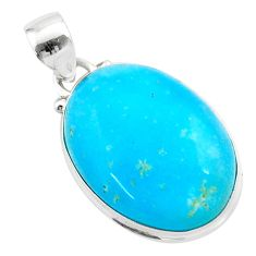 16.62cts blue smithsonite 925 sterling silver handmade pendant jewelry t42354