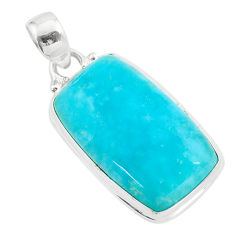 17.02cts blue smithsonite 925 sterling silver handmade pendant jewelry t42379
