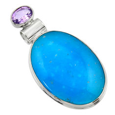 19.23cts blue smithsonite amethyst 925 sterling silver pendant jewelry r32079