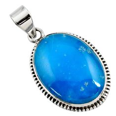 18.15cts blue smithsonite oval 925 sterling silver pendant jewelry r27907