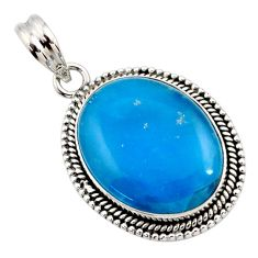 15.85cts blue smithsonite oval 925 sterling silver pendant jewelry r27910