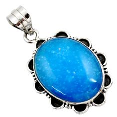17.42cts blue smithsonite oval 925 sterling silver pendant jewelry r27911