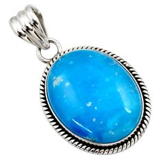 19.23cts blue smithsonite oval 925 sterling silver pendant jewelry r27912