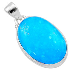 18.68cts blue smithsonite oval 925 sterling silver pendant jewelry t22782