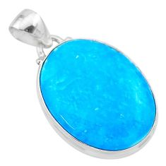 16.07cts blue smithsonite oval 925 sterling silver pendant jewelry t22783
