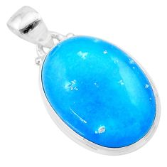 17.15cts blue smithsonite oval 925 sterling silver pendant jewelry t22786