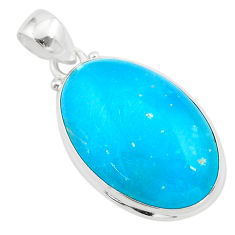 18.70cts blue smithsonite oval 925 sterling silver pendant jewelry t42382