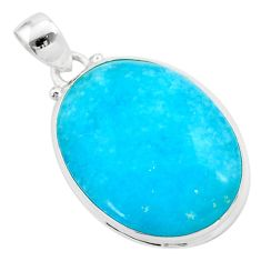 22.07cts blue smithsonite oval 925 sterling silver pendant jewelry t42385