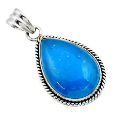 22.02cts blue smithsonite pear 925 sterling silver pendant jewelry r32078