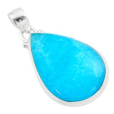 16.68cts blue smithsonite pear 925 sterling silver pendant jewelry t42342