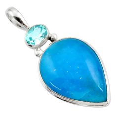 18.15cts blue smithsonite pear topaz 925 sterling silver pendant jewelry r27916