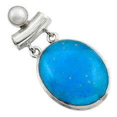 23.92cts blue smithsonite pearl 925 sterling silver pendant jewelry r32075