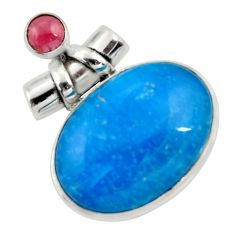 28.73cts blue smithsonite red garnet 925 sterling silver pendant jewelry r30501