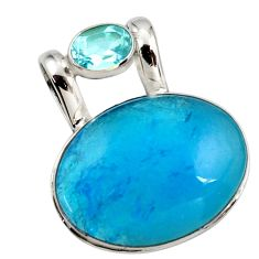 18.15cts blue smithsonite topaz 925 sterling silver pendant jewelry r27914