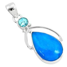 11.20cts blue smithsonite topaz 925 sterling silver pendant jewelry r94641