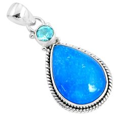13.15cts blue smithsonite topaz 925 sterling silver pendant jewelry r94649