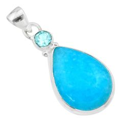 14.12cts blue smithsonite topaz 925 sterling silver pendant jewelry t30584
