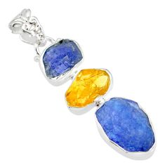 14.45cts blue tanzanite raw citrine rough 925 sterling silver pendant r83088