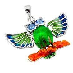 Blue topaz quartz enamel 925 sterling silver owl pendant jewelry c26110