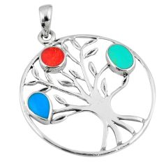 3.69gms blue turquoise coral enamel silver tree of life pendant a88352 c13703