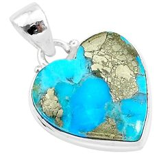 11.38cts blue turquoise pyrite 925 sterling silver heart pendant r95284