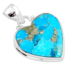 11.97cts blue turquoise pyrite 925 sterling silver heart pendant r95287