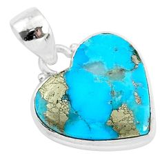 11.45cts blue turquoise pyrite 925 sterling silver heart pendant r95288