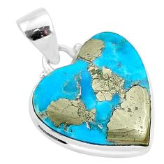 12.70cts blue turquoise pyrite 925 sterling silver heart pendant r95289