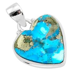 11.35cts blue turquoise pyrite 925 sterling silver heart pendant r95293